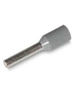 Bootlace Ferrule Insulated Crimp 0,75mm² wire size, 8mm Pin Length, Grey (100 pcs pack)