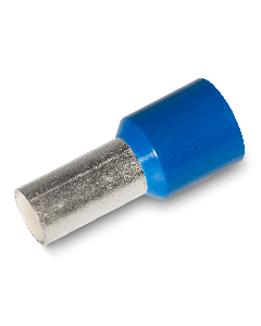 Bootlace Ferrule Insulated Crimp 16mm² wire size, 12mm Pin Length, Blue (100 pcs pack)